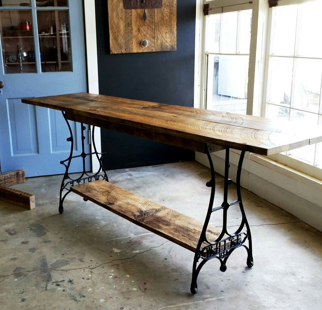 Table Made From Reclaimed Barnwood And Legs From An Antique Sewing Machine Base Made By Resurrec Sewing Machine Tables Sewing Machine Table Diy Wood Table Diy