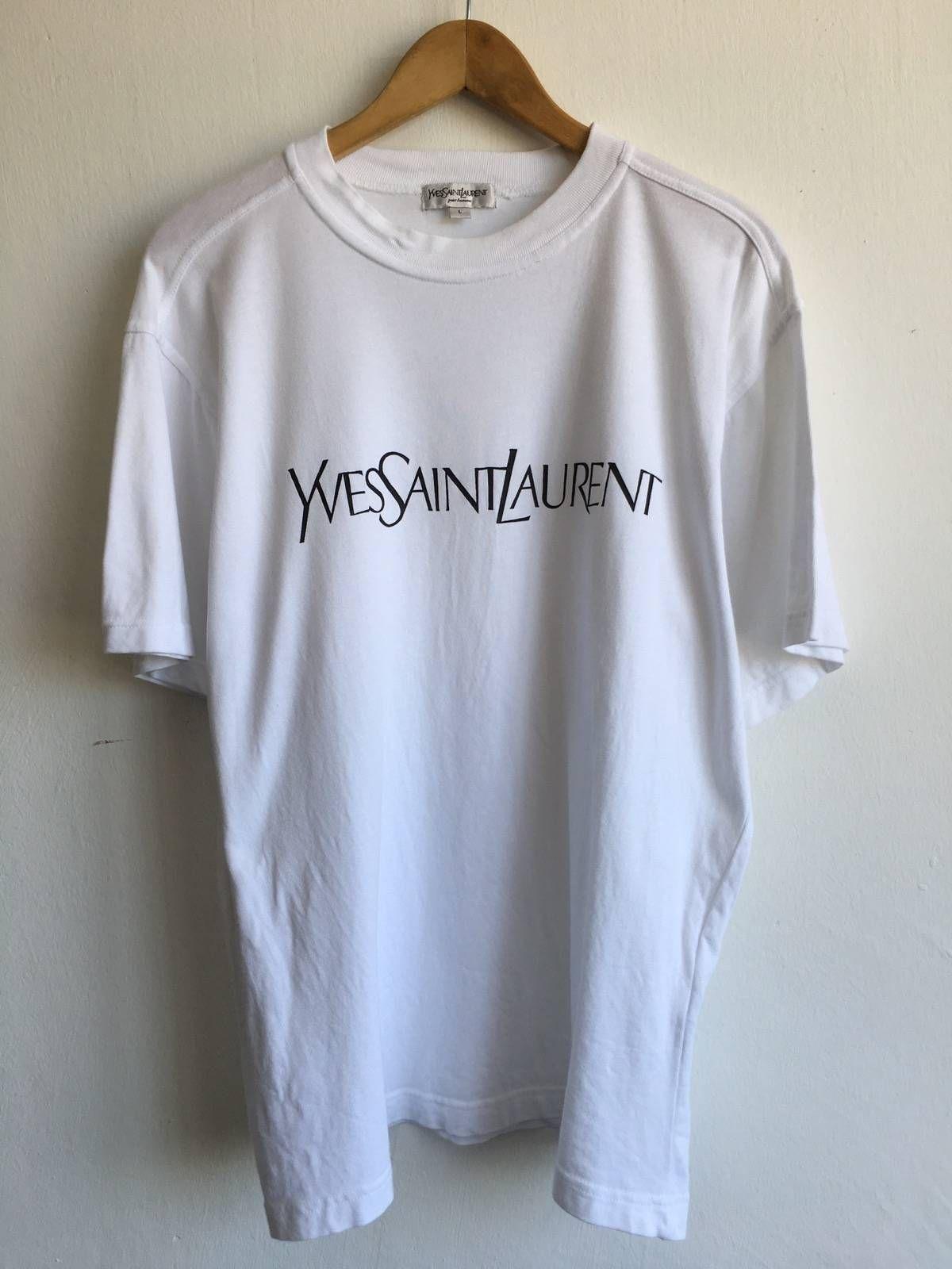 ea7ce1dcd46 Ysl Pour Homme × Yves Saint Laurent Yves Saint Laurent White Tshirt  Spellout Size Large Size L $133