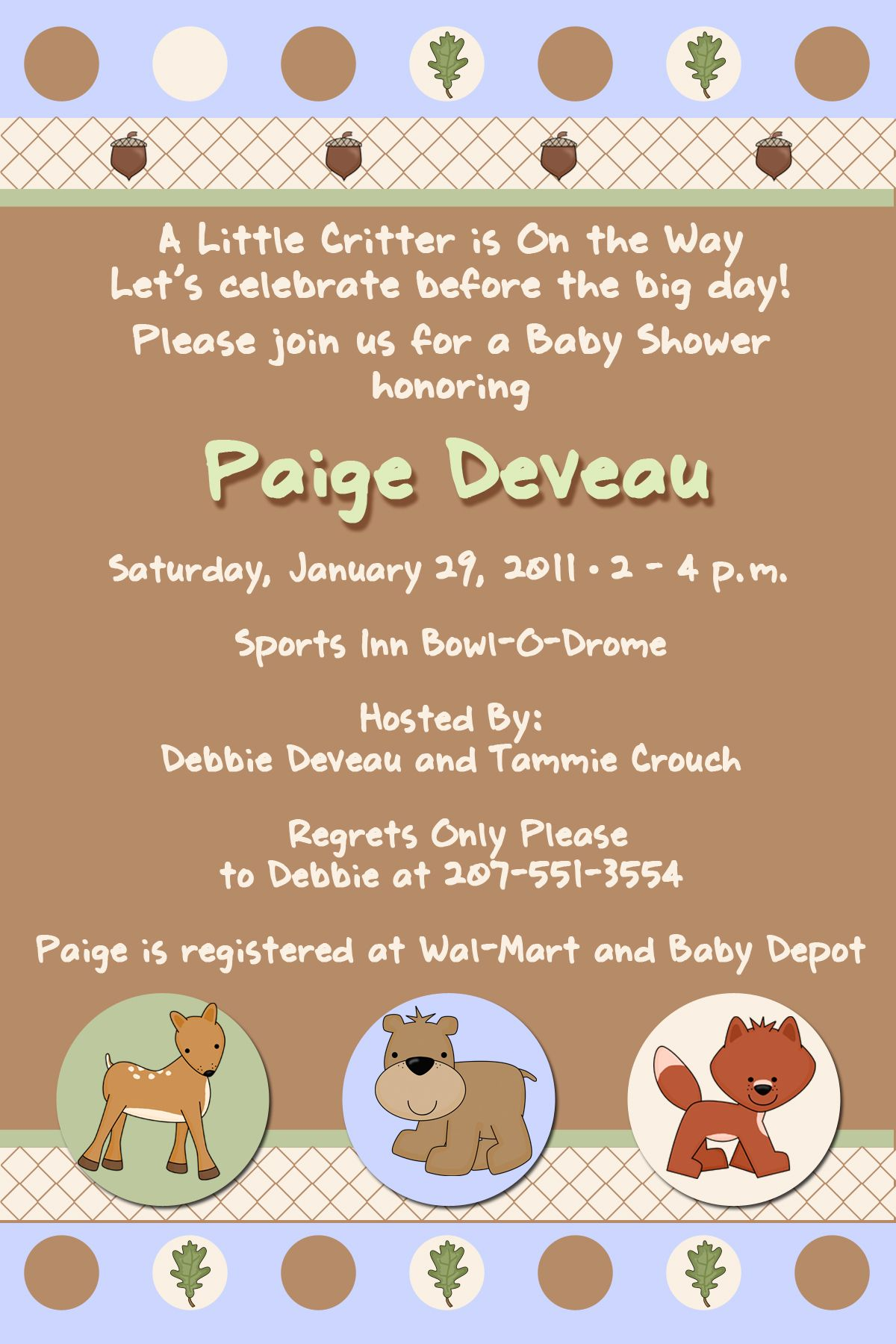 Woodland Animals Baby Shower Invitations | Baby Shower Invitations ...