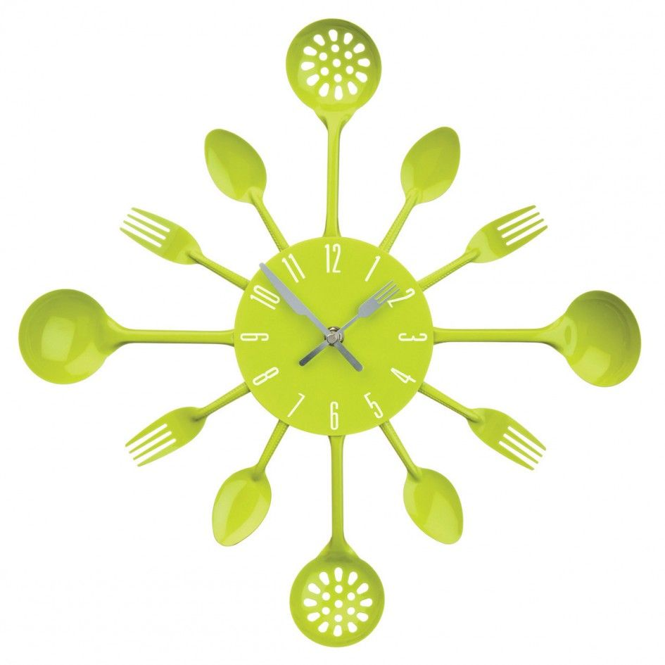 Decoration Awesome Kitchen Utensil Wall Clock Unique Creative Wall ...