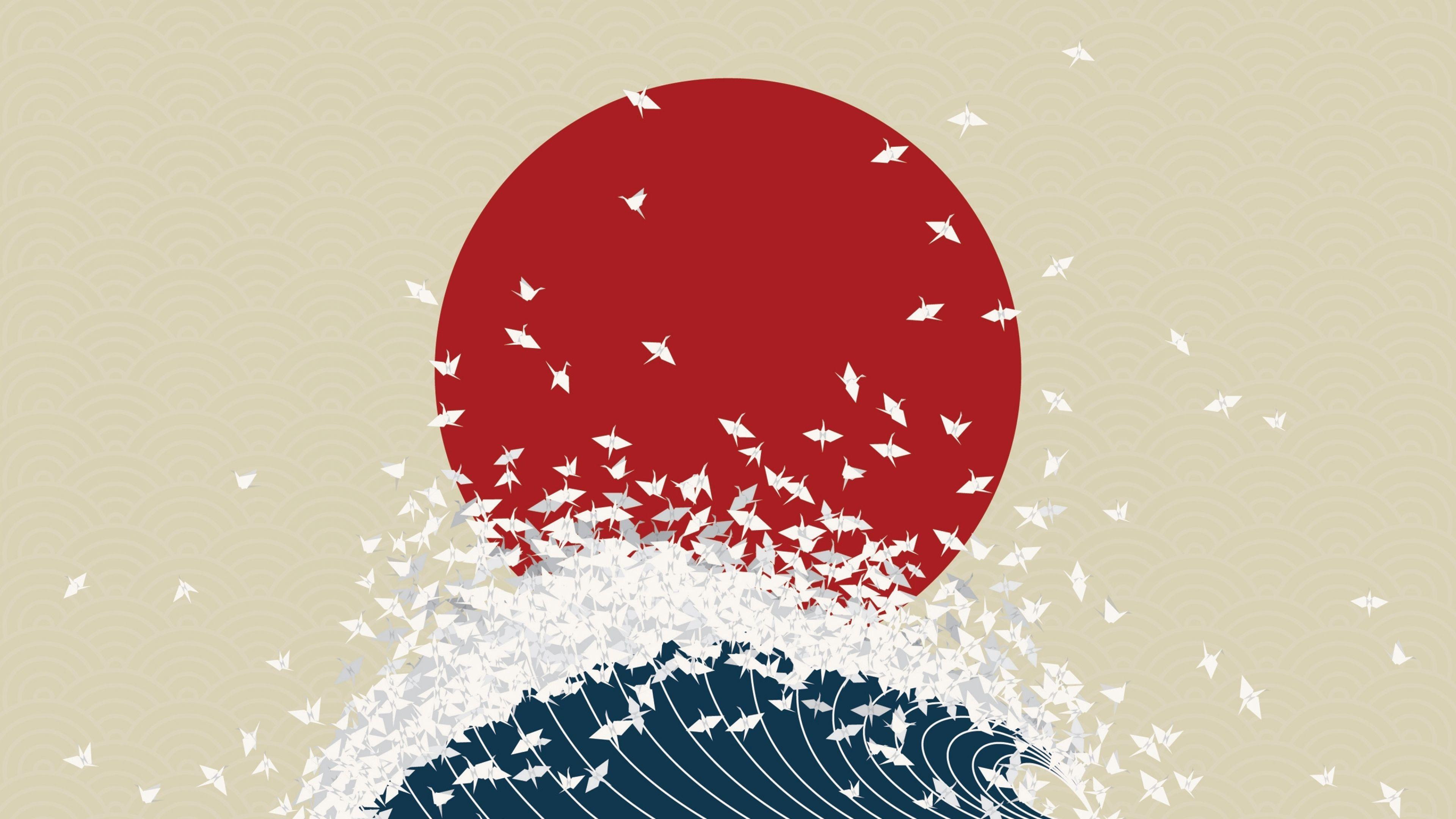 3840x2160 Wallpaper Minimalism Origami Japan Rising Sun Wave Origami Art Gambar