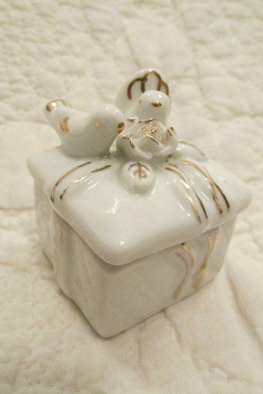 Vintage ceramic Trinket Box White Gold box with by rarefinds4u