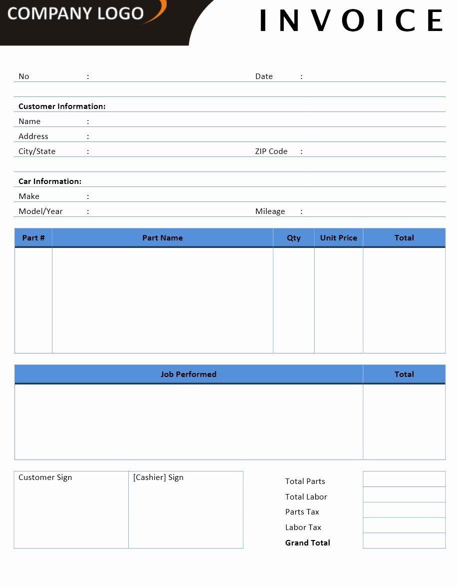 40 Auto Repair Invoice Template Word in 2020 Invoice