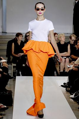 Jil Sander Spring/Summer 2011 collection - peplum maxi skirt in tangerine orange.