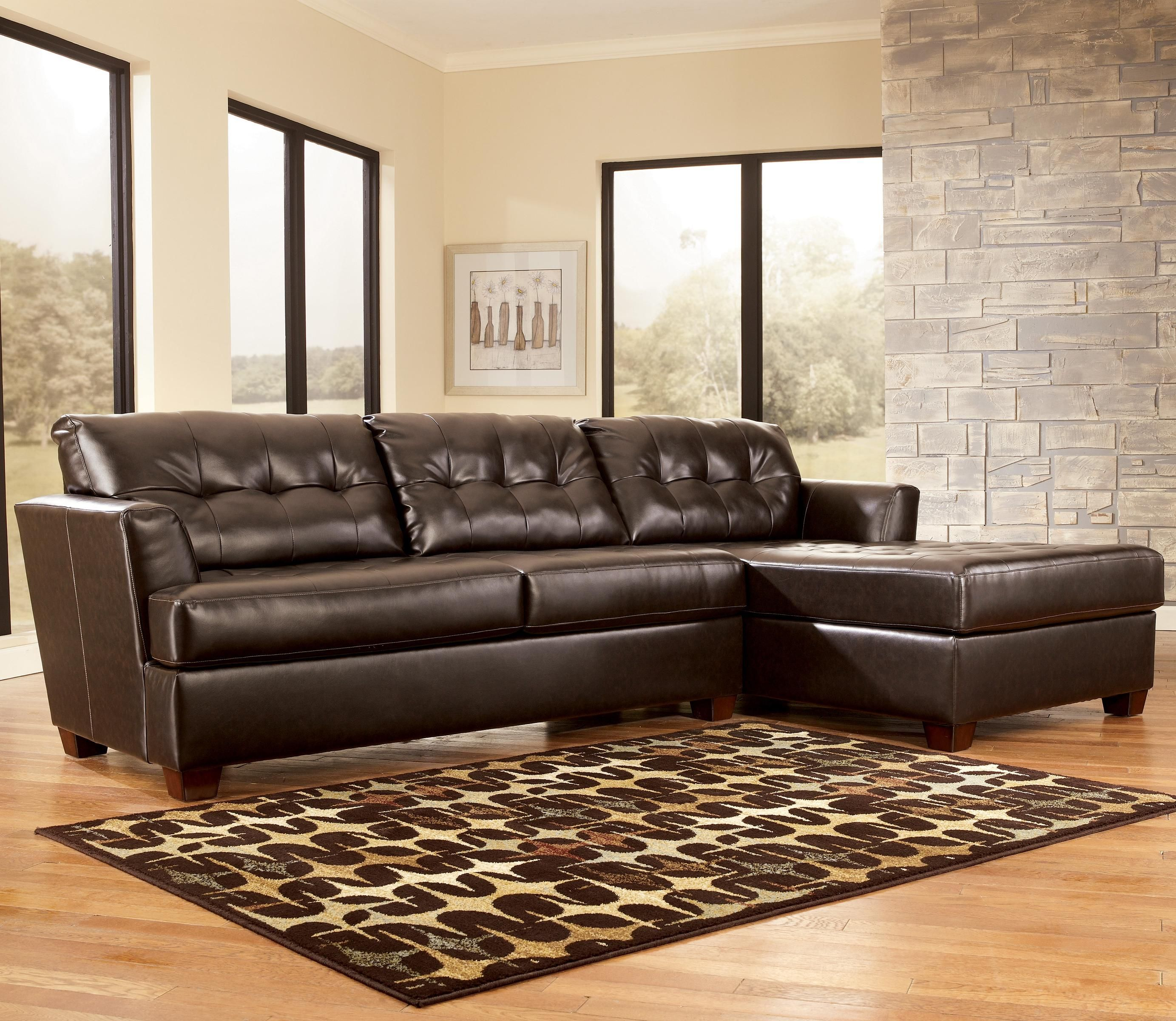 Dixon durablend chocolate sectional sofa by signature for Ashley durablend chaise