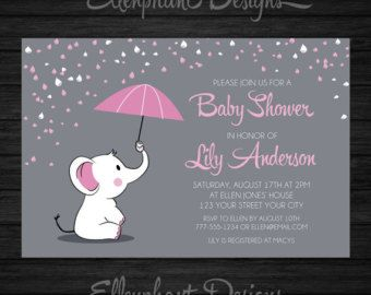 Baby Shower Themes With Umbrellas ~ Elephant baby shower invitation. pink by thecutepaperstudio