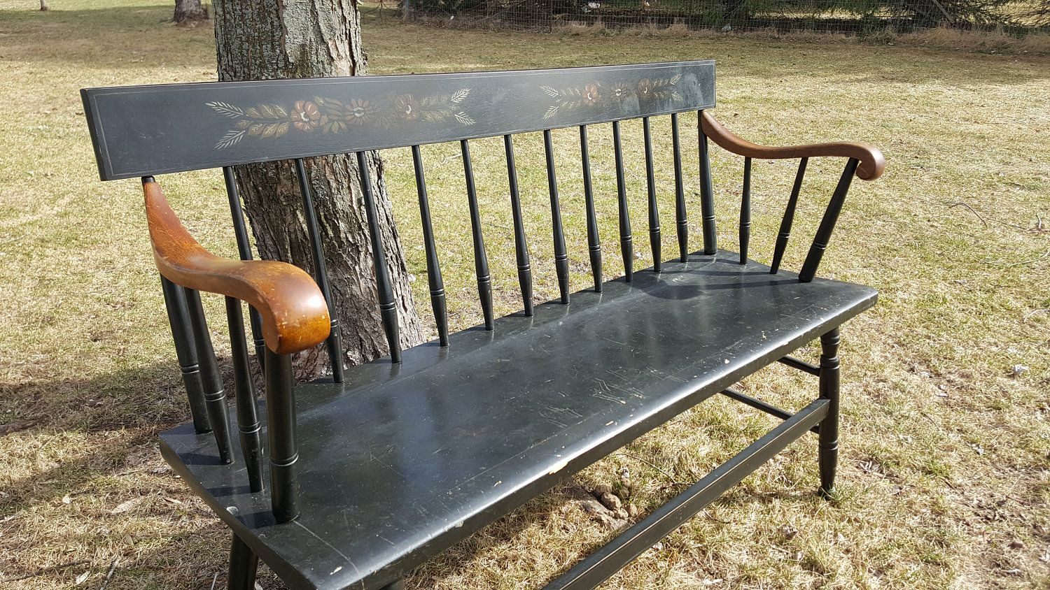 Black Wood Bench Antique Folk Art Bench Sofa Settee Entryway Bench Spindle Primitive Love Seat Furniture Deacon F Wood Bench Deacons Bench Vintage Porch