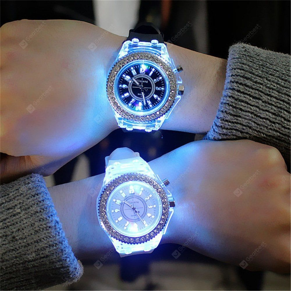 Buy Geneva Led Light Flash Luminous Watch Personality Trends Students Lovers WristWatch, sale ends s...