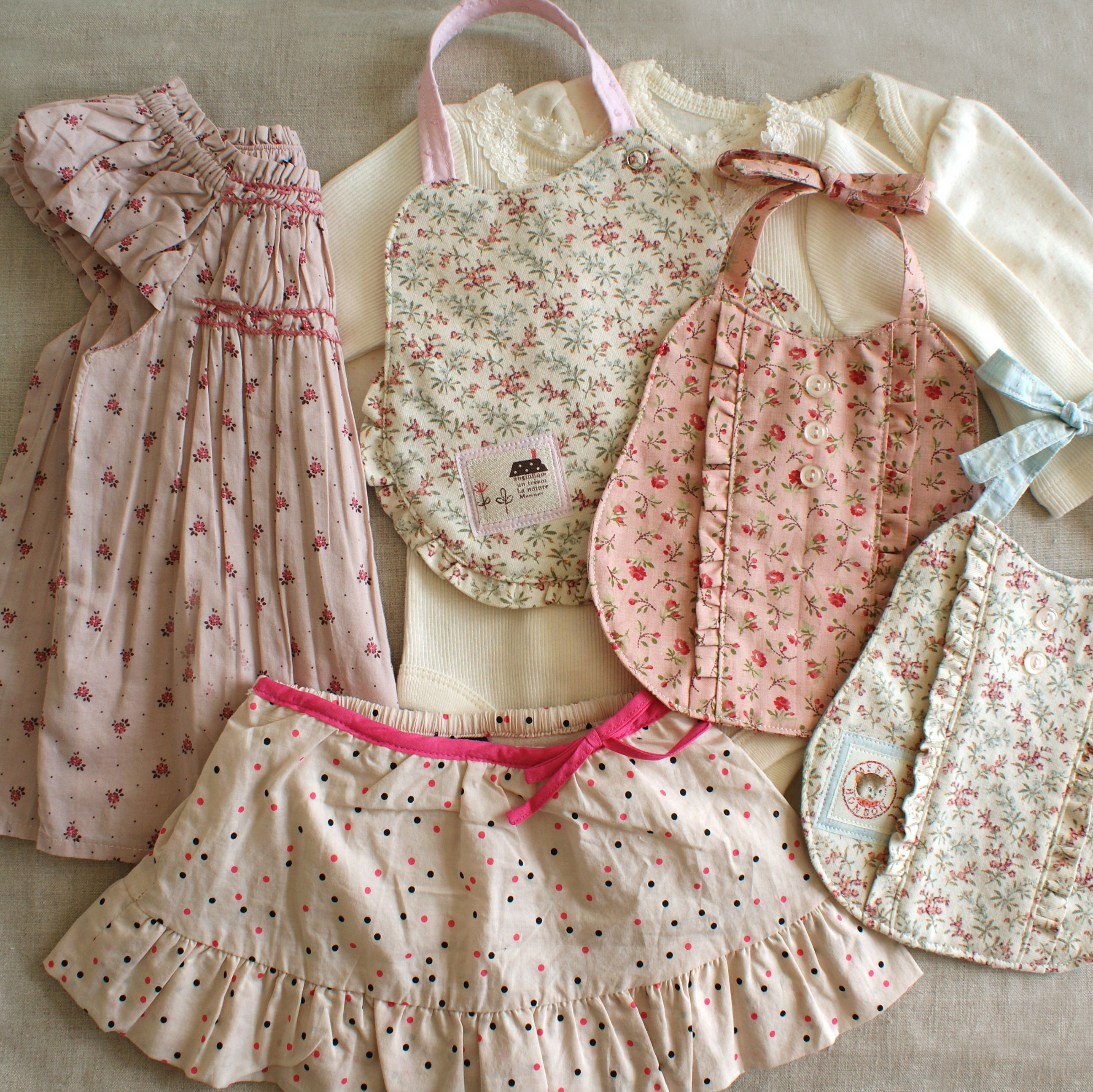 Delicate little feminine bibs and clothes Someday I am going to sew