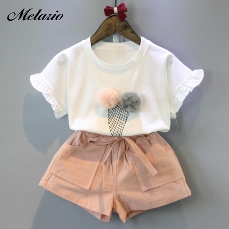 Melario Girls Clothing Sets 2019 Summer Cotton Vest Two-piece Sleevele 2