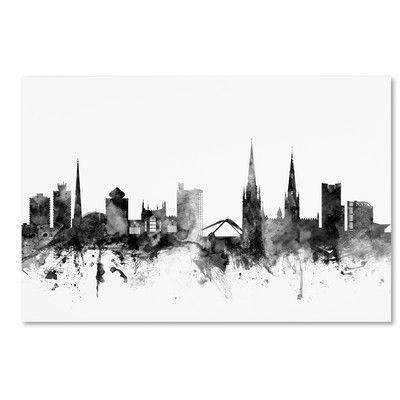 """Trademark Art """"Coventry England Skyline B&W"""" by Michael Tompsett Graphic Art on Wrapped Canvas Size:"""