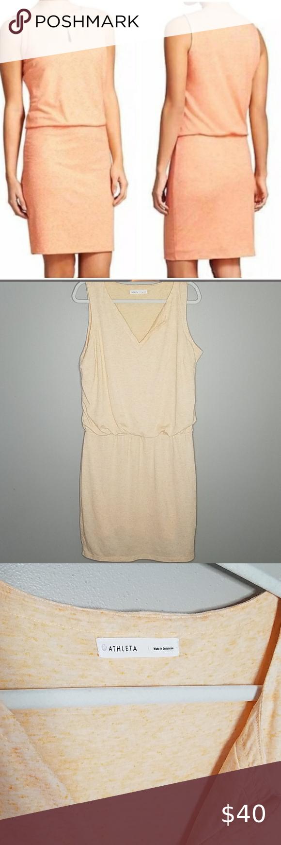 Athleta Orange Linen Vita Dress, Size Large Athleta Orange Linen Vita Dress, Size Large.  Body-82% Polyester, 14% Linen, 4% Spandex.  Lining-85% Polyester, 15% Linen.  Measures approximately 41