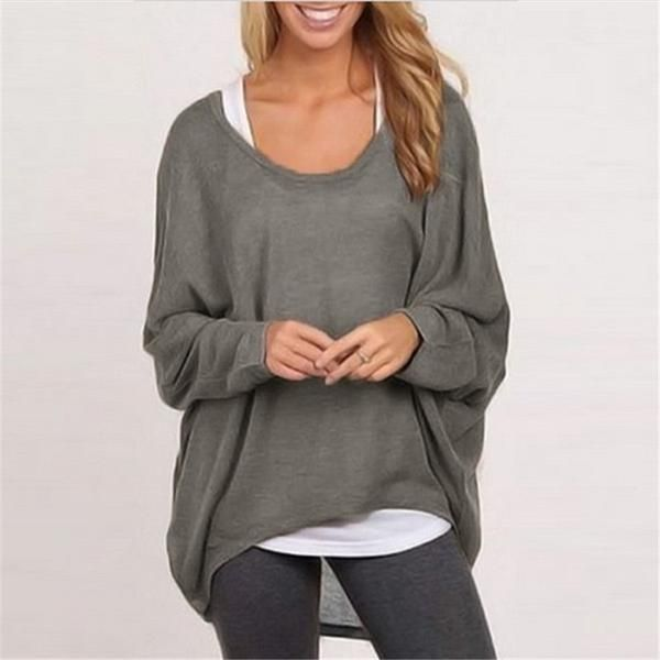 68c613f0e15 Women Pullover Shirt Batwing Long Sleeve Casual Loose Solid Tops ...