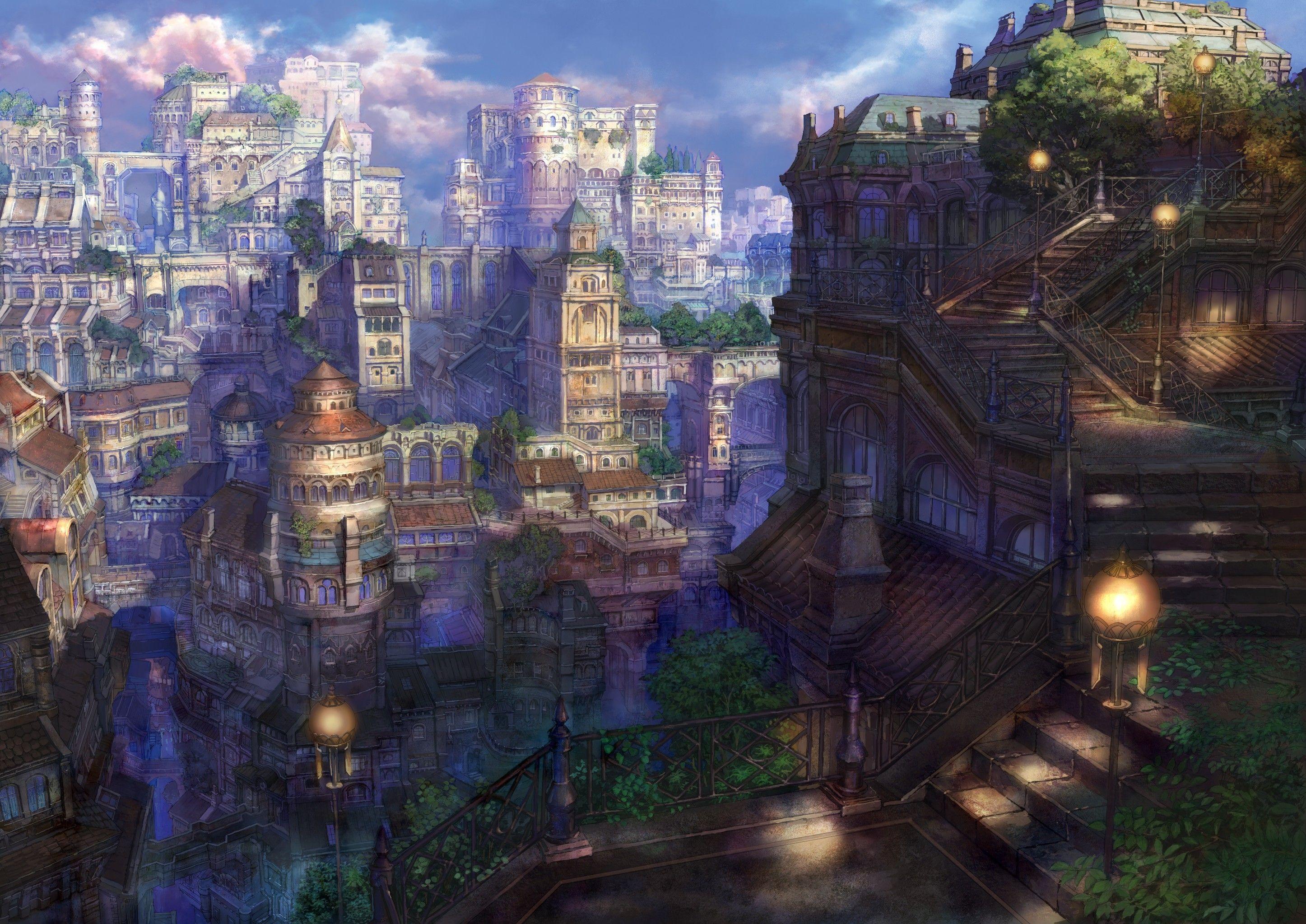 Japanese Anime Architecture Japanese Japan Wallpaper 11941 Wallhaven Cc Fantasy Town Fantasy City City Landscape