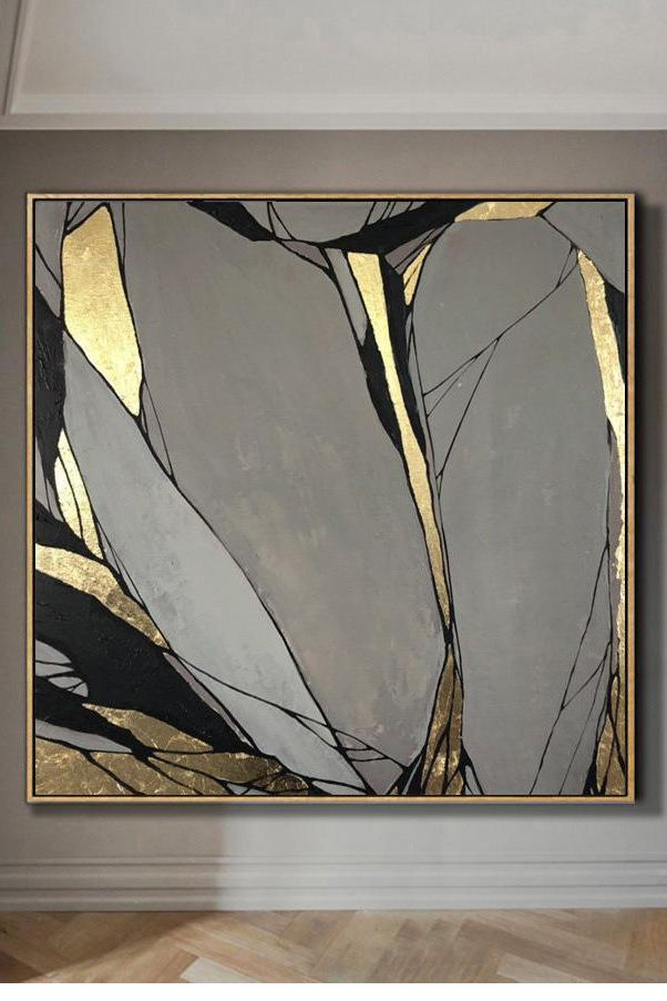 Abstract Painting Original Large Gold Leaf Painting Gray Painting Stone Flowers 258 Gold Abstract Painting Acrylic Painting Canvas Abstract Painting Acrylic