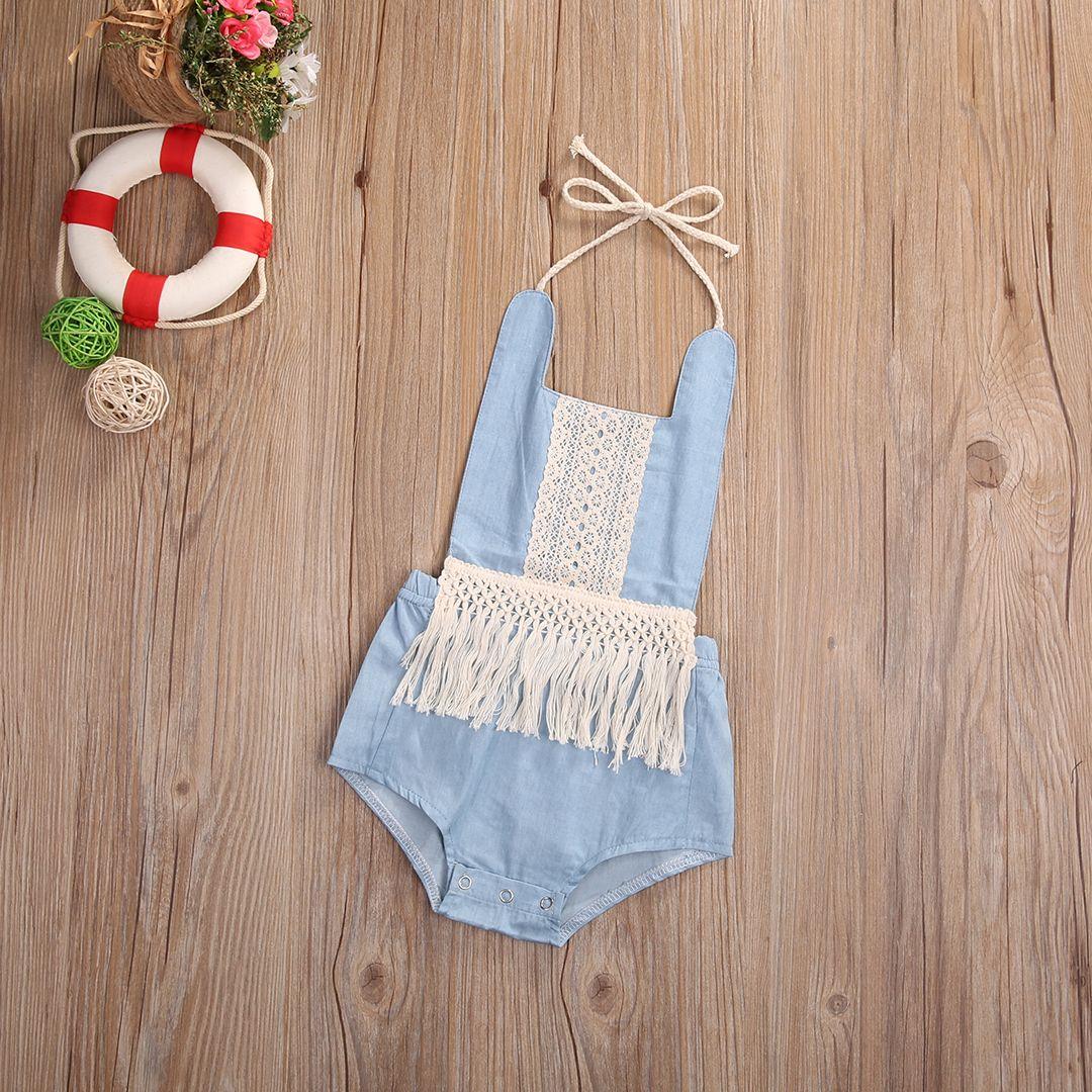 bd37d0e8e09d 2017 Cute Newborn Baby Romper Summer Sleeveless Tassel Jean Clothes Toddler  Kids Jumpsuit Backless Halter Outfits