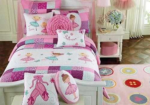 Toddler Bedding Set Ballerina Quilt Turquoise Purple Pink Cotton
