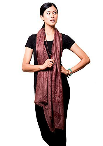 Handmade Yoga Om Nama Shiva Prayer Shawl/ Scarf (Brown). Soft Cotton Made in India with Om nama Shiva design and Om. Hand Wash Cold water. Color can be slightly different than picture shown.