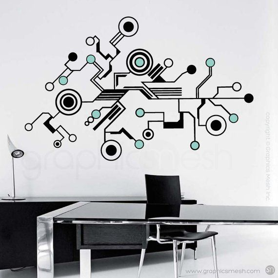 Wall Decals Large Tech Shapes Abstract Circuit Shaped Vinyl Art Stickers Interior Decor 40x64 Inches Wall Decals Vinyl Wall Art Office Wall Colors