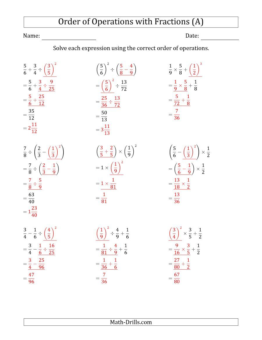 Worksheets Operations With Fractions Worksheet the order of operations with positive fractions three steps a math worksheet