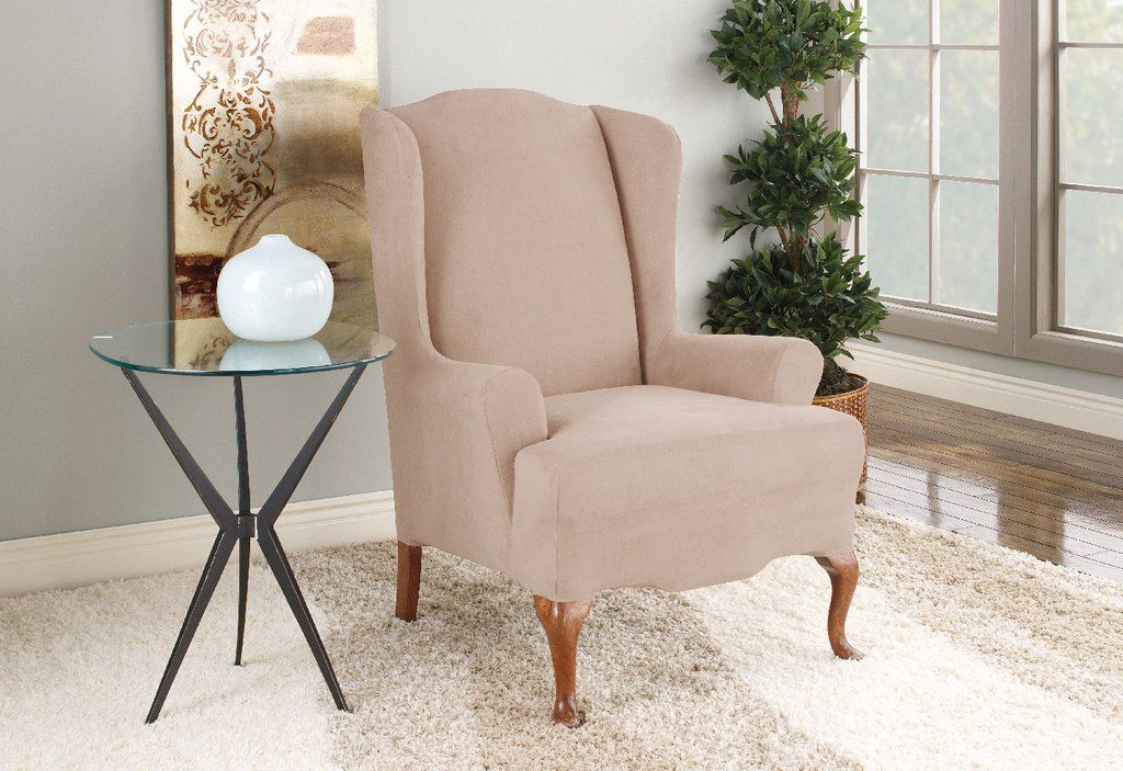 Astounding Stretch Suede One Piece Wing Chair Slipcover Home Design Gmtry Best Dining Table And Chair Ideas Images Gmtryco