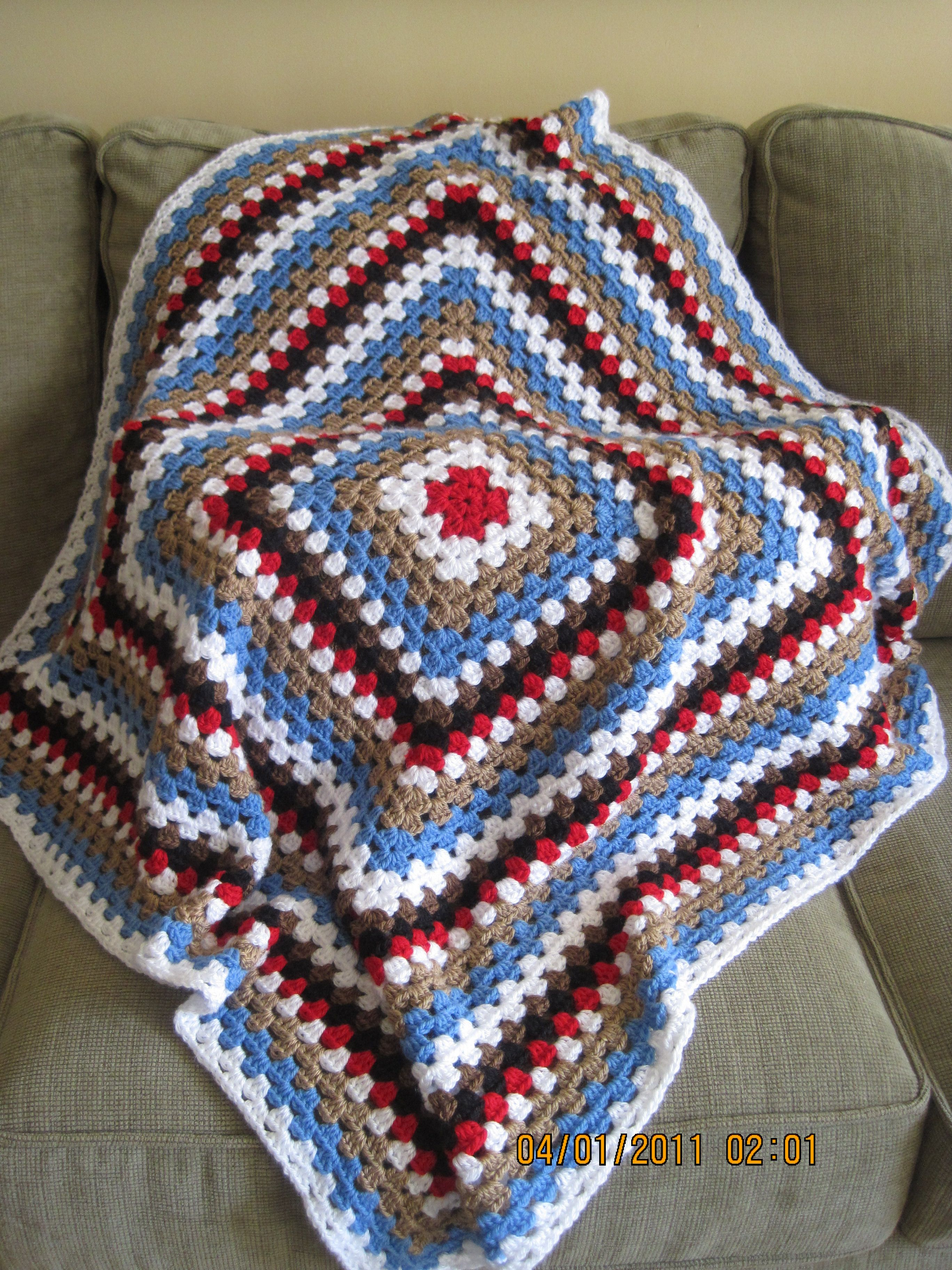 Large granny square blanket in western or Toy Story colors for a ...