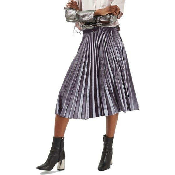 Petite Women's Topshop Pleated Velvet Midi Skirt ($100) ❤ liked on Polyvore featuring skirts, grey, petite, wet look skirt, pleated midi skirt, knee length pleated skirt, grey pleated skirt and topshop skirts