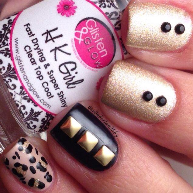 Gold and black leopard print nail art. Leopard nail art. Nail art ...