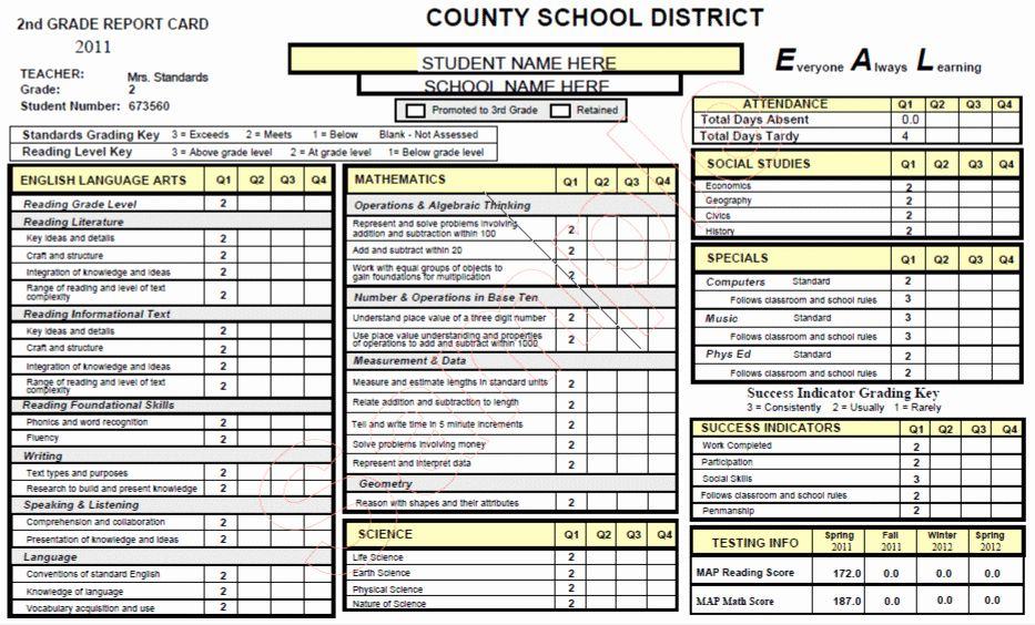 Kindergarten Report Card Kindergarten Report Cards Report Card Template School Report Card