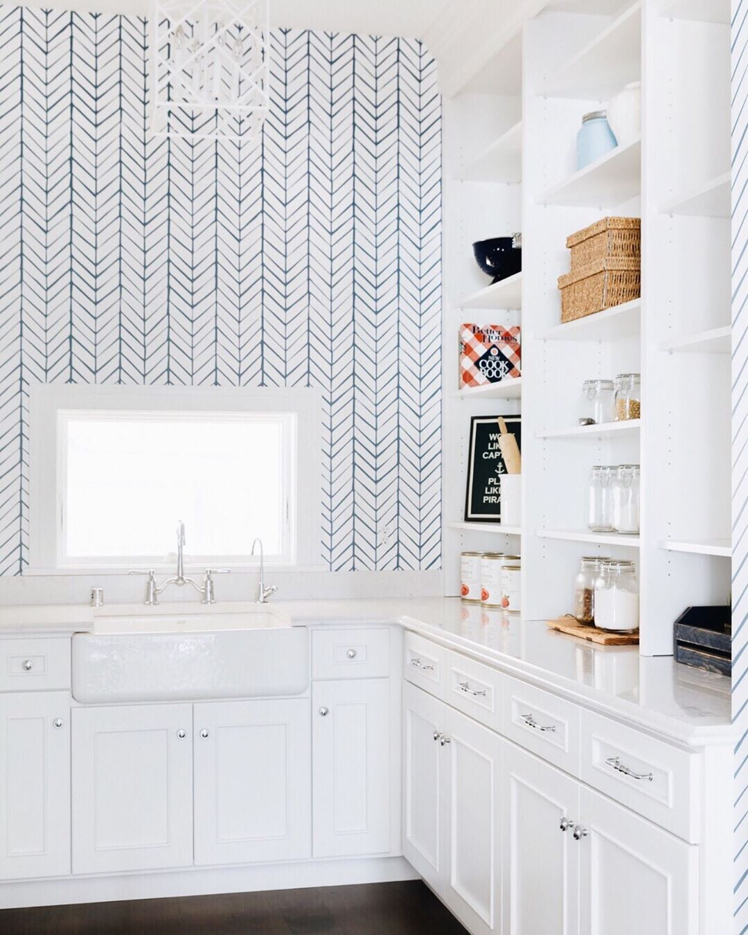 Pantry Goals It S No Secret That We Re A Fan Of Wallpaper But This Chevron One In The Pantry Of Our Orono White Pantry Wallpaper Kitchen Island Interior
