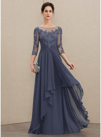 Photo of [€ 165.00] A-Line Scoop Floor-Length Chiffon Lace Little …