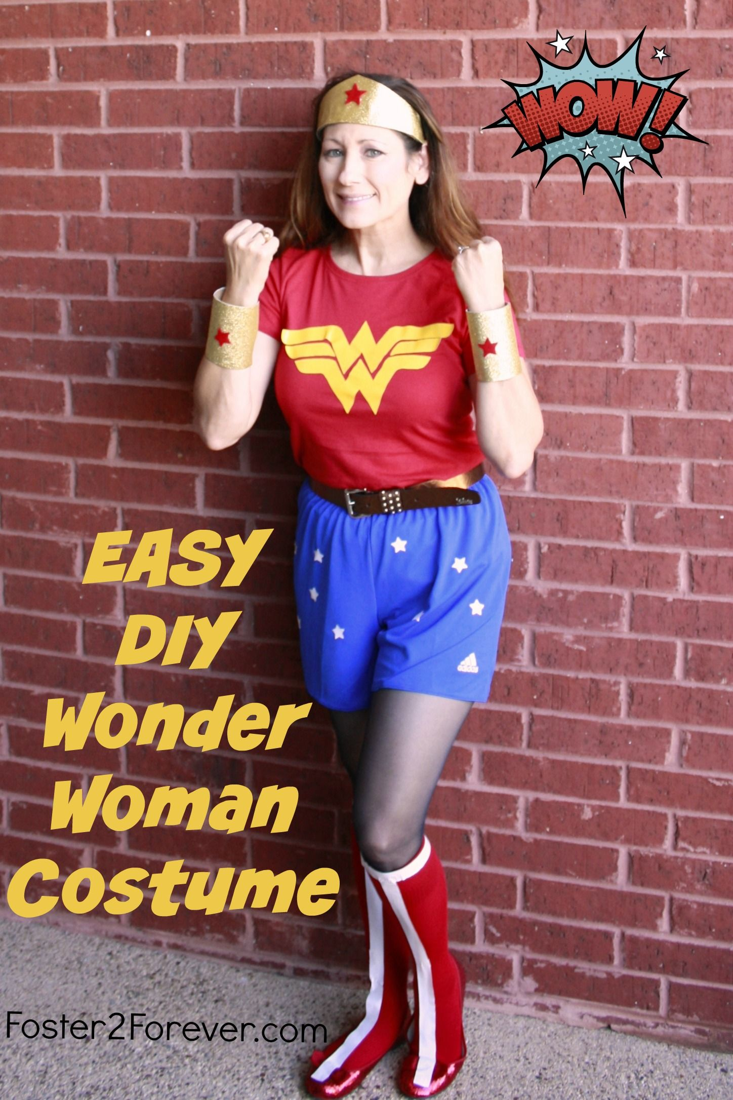 Check out this easy DIY Wonder Woman Costume! Great for Halloween or 5k running. The cuffs are made of toilet paper rolls.  sc 1 st  Pinterest & How to Make a Wonder Woman Costume + 88 Other DIY Costumes   Diy ...