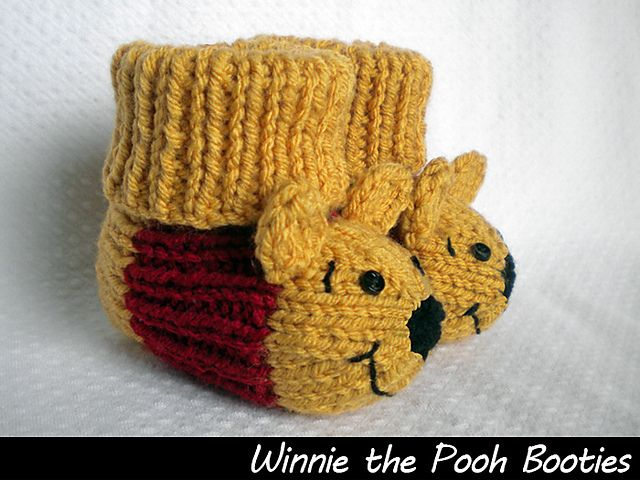 Winnie the Pooh Booties pattern by Aunt Janet\'s Designs | Patrones ...