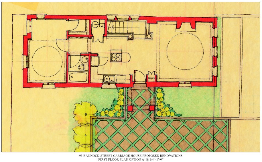 First Scheme Two Bedroom House First Floor Plan Drawn On Yellow Tracing Paper In Pencil Ink Rendered Floor Plan Drawing Small House Design Plan Drawing