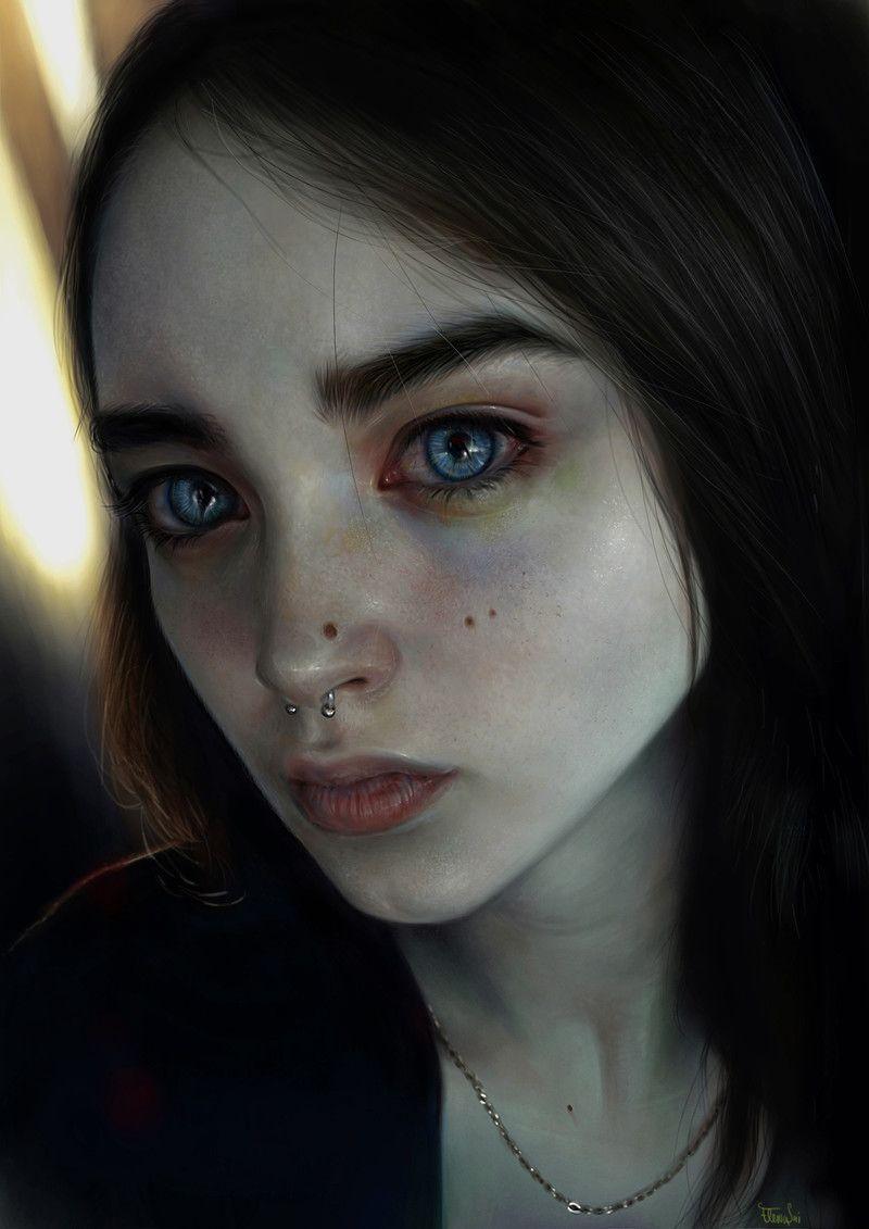 """Lidia"" - Elena Sai {figurative realism art female head ... Лидия Арт"