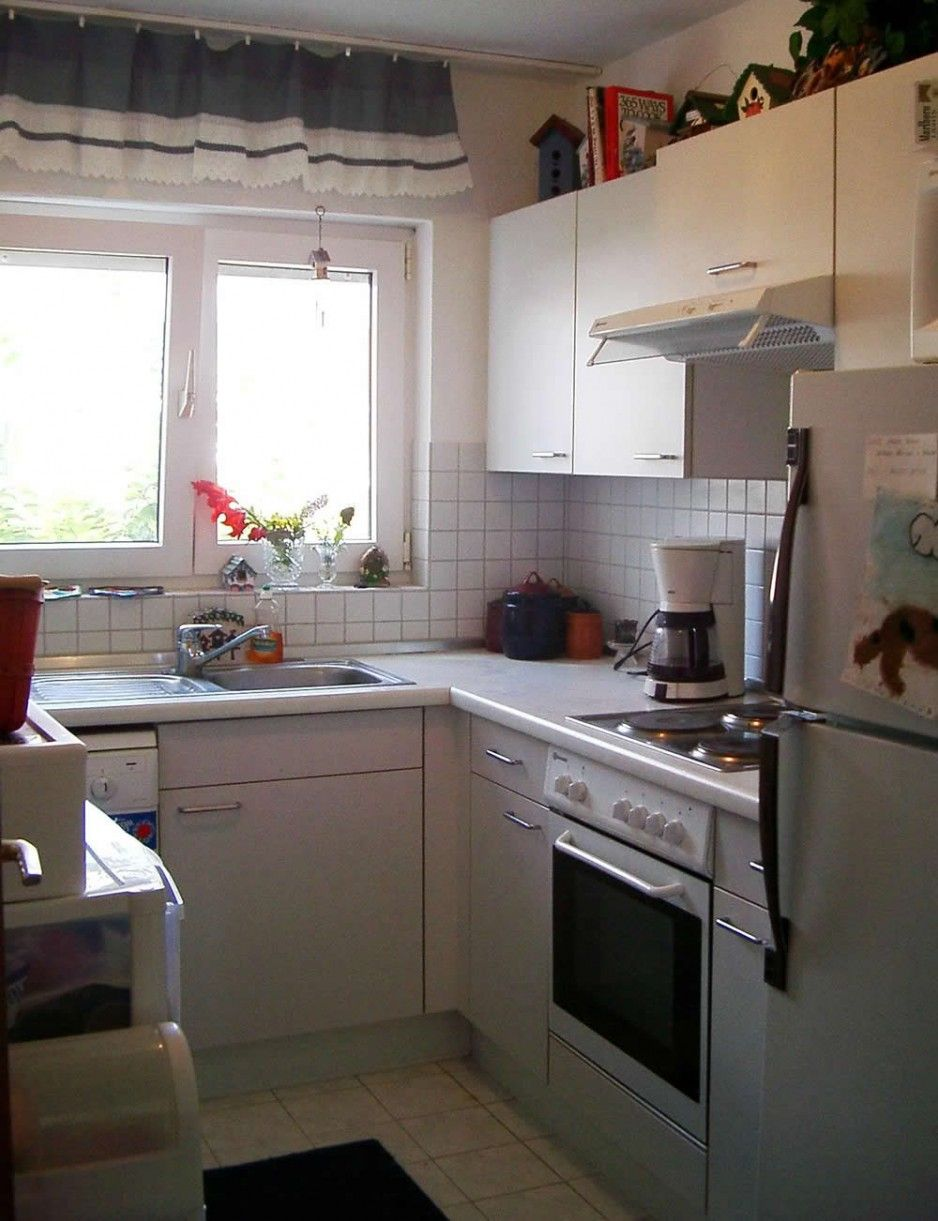 good-looking White Small U-shaped Kitchen Design For with White ...