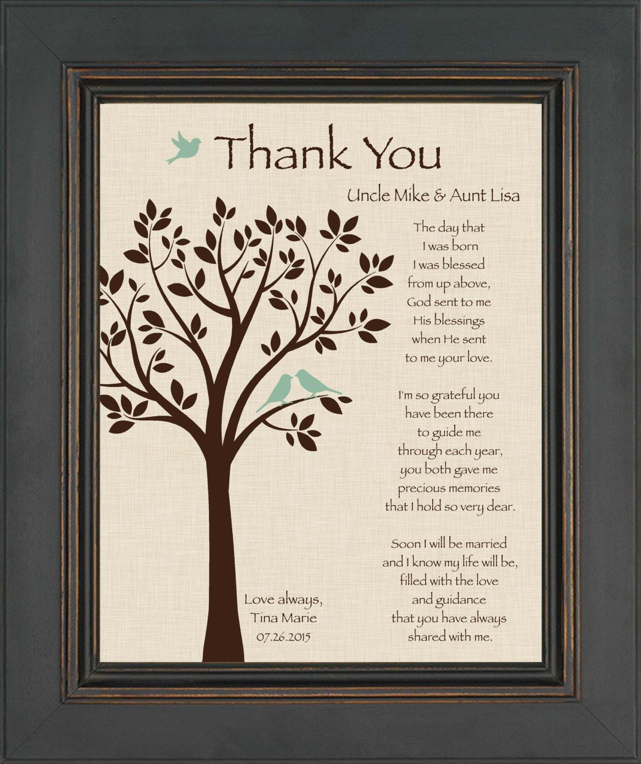 Wedding Gift Thank You Quotes : ... Wedding Thank You Gift - Can be made in wedding colors Thank you