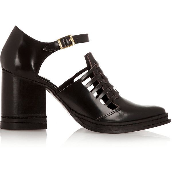 Purified Nix cutout leather ankle boots ($224) ❤ liked on Polyvore featuring shoes, boots, ankle booties, black, black bootie, black buckle booties, high heel ankle boots, cut-out ankle boots and black ankle booties