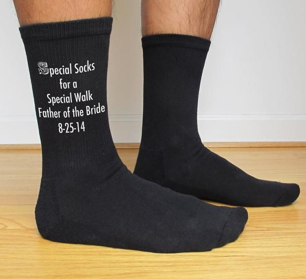 For a fun and unique item, personalized socks are perfect for wedding parties, party favors, any celebration or event!    Using our patent pending process we can print almost any design on our cotton blend crew socks with environment friendly apparel inks.  From a simple design to an intricate graphic, we can print it!  Basic information:  Socks are sold in sets of 3 and each pair in the set can have a different design or name on them.  The list price is for the set of 3 socks.  Sock size…