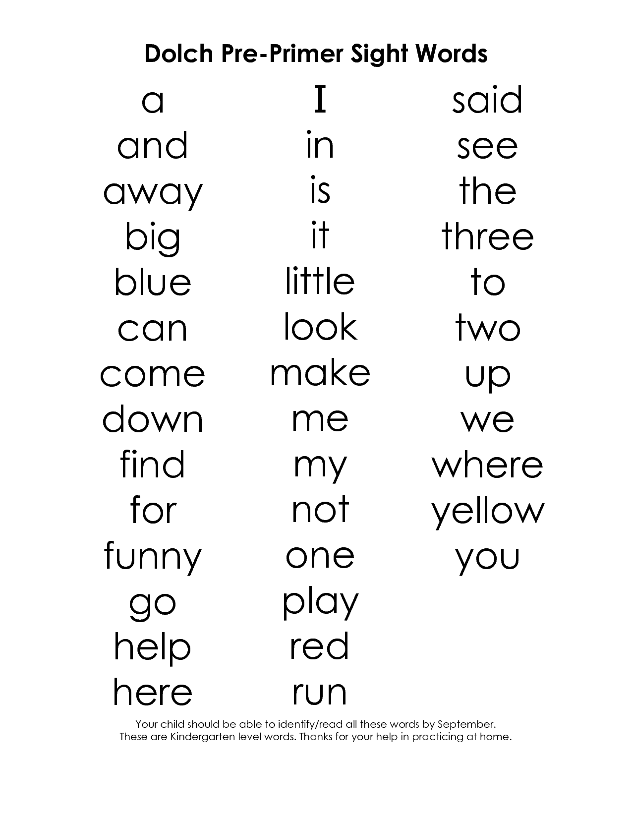 Dolch Sight Words Kindergarten