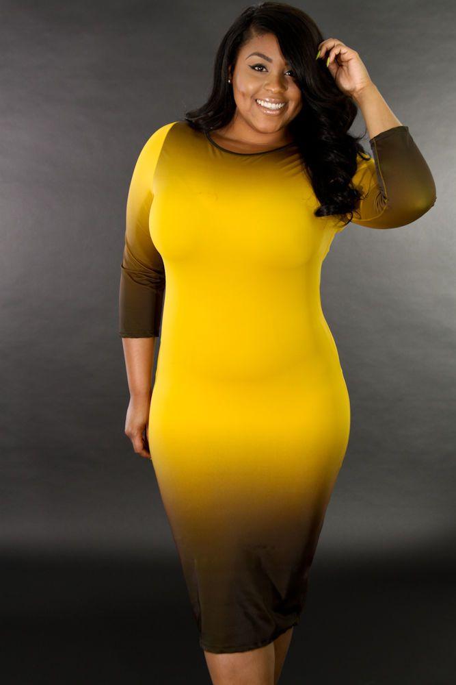 4d69fa11f0 Plus Size Casual Nightclub Women Dressy Fade Color Bodycon Dress giti online