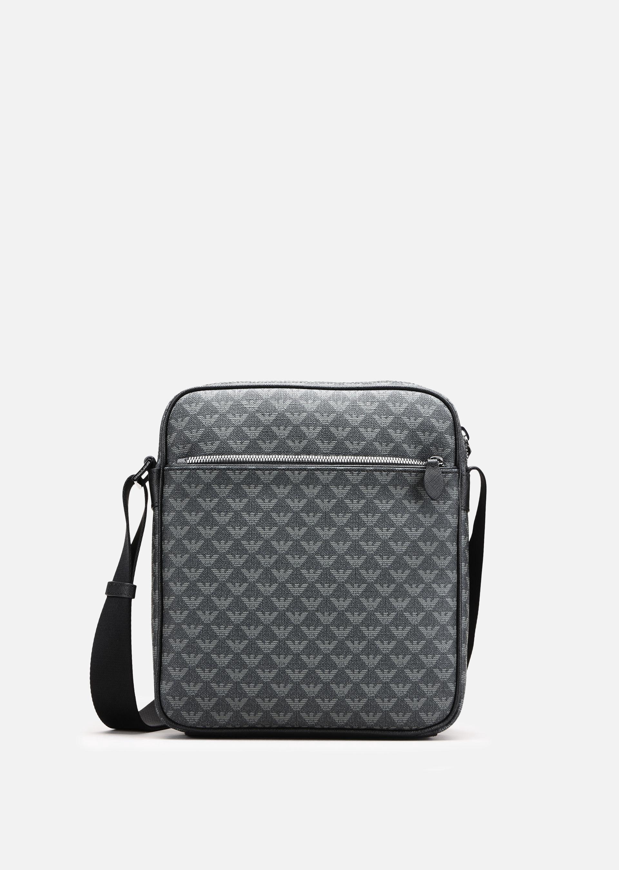 EMPORIO ARMANI ALL-OVER LOGO PRINT PVC CROSS BODY BAG.  emporioarmani  bags   shoulder bags  pvc  charm  accessories  polyester   424a3f5f70938