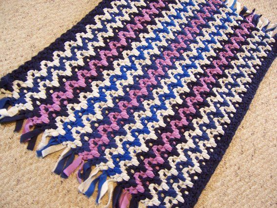 Crochet Flannel Shirt Custom Made Rag Rug Fleece Chevron Stripe Recycled Fabric