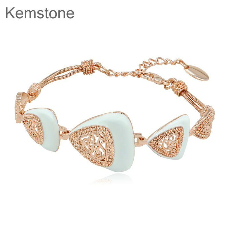 Kemstone Rose Gold Plated Filigree White Plated Adjustable Chain Link Bracelets for Womens Gift,7.68