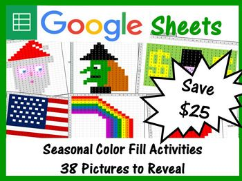 seasonal mystery pictures fill color activities bundle for google
