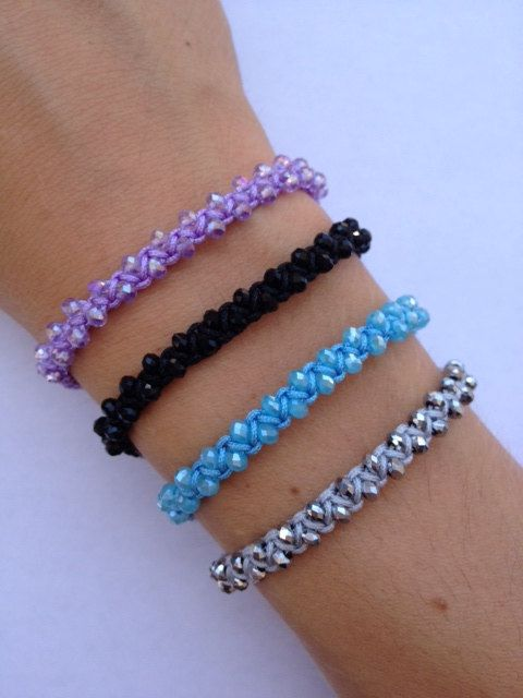 Sparkling Faceted Rondelle Crystal Glass Bead Braided
