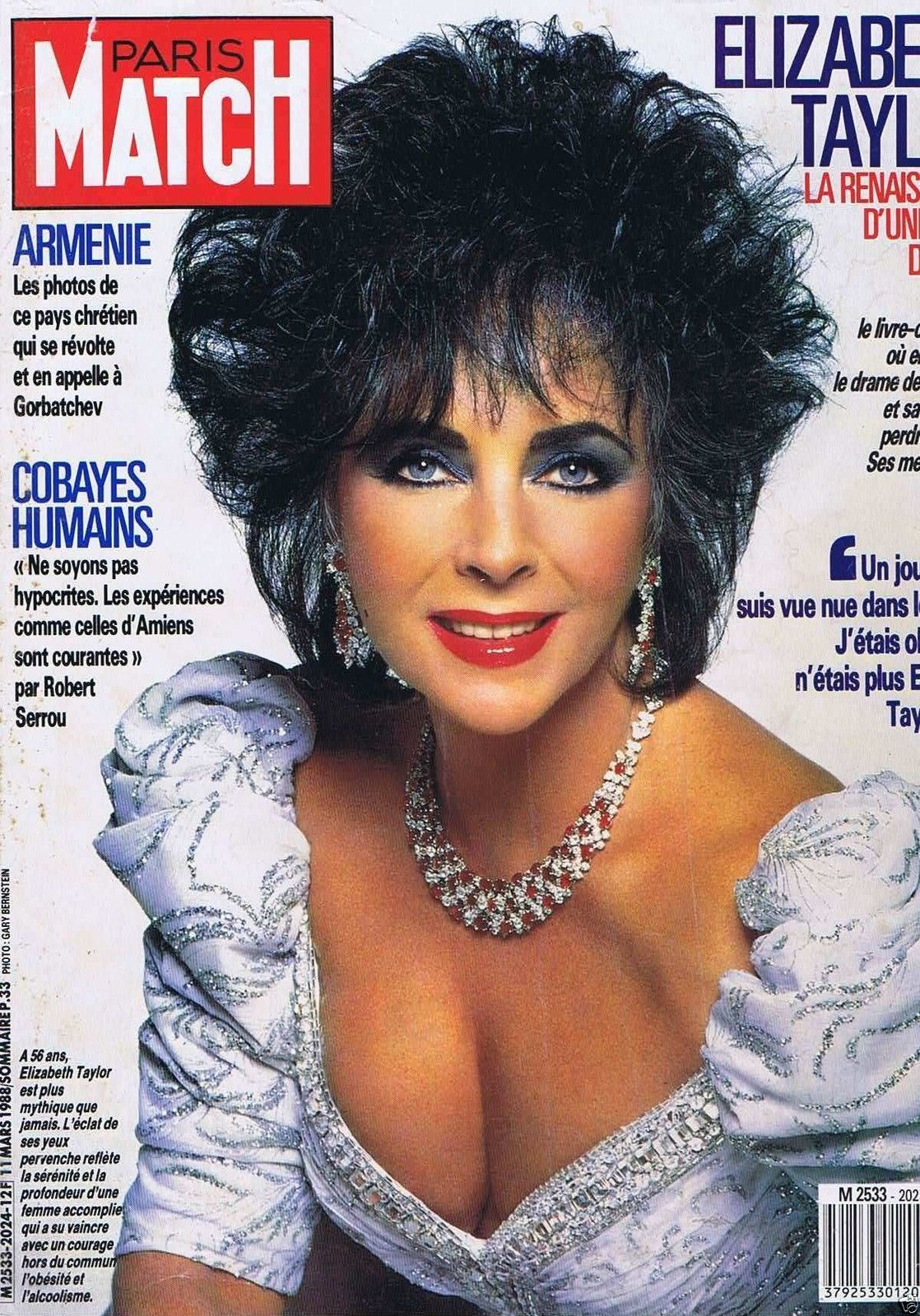 couverture magazine coverage paris match 11 03 88 elizabeth taylor paris match pinterest. Black Bedroom Furniture Sets. Home Design Ideas