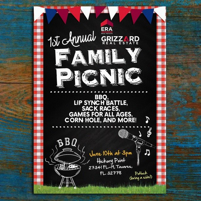 Create a playful flyer to promote a company picnic/field day by