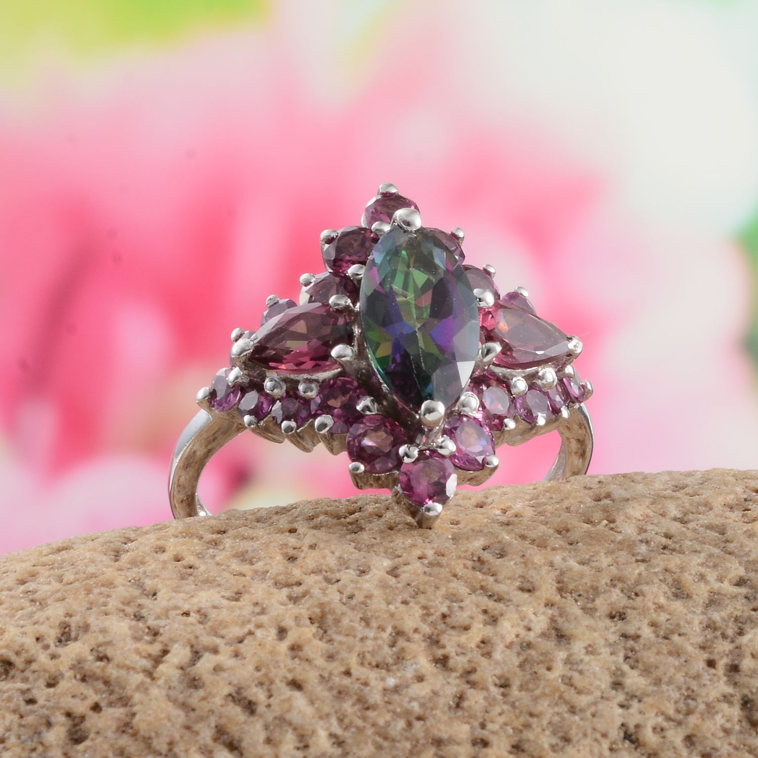 Northern Lights Mystic Topaz and Orissa Rhodolite Garnet Ring in ...