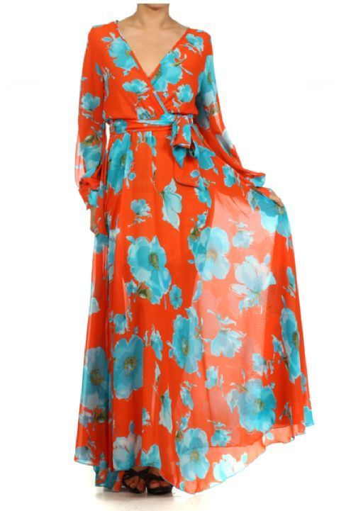 WEEKEND SALE...NEW LOWER PRICES!!! CRUISE TIME Orange FLORAL FULL SWEEP Chiffon MAXI DRESS Gown SHEER Long vtg st #tamarstreasures #Maxi #Formal
